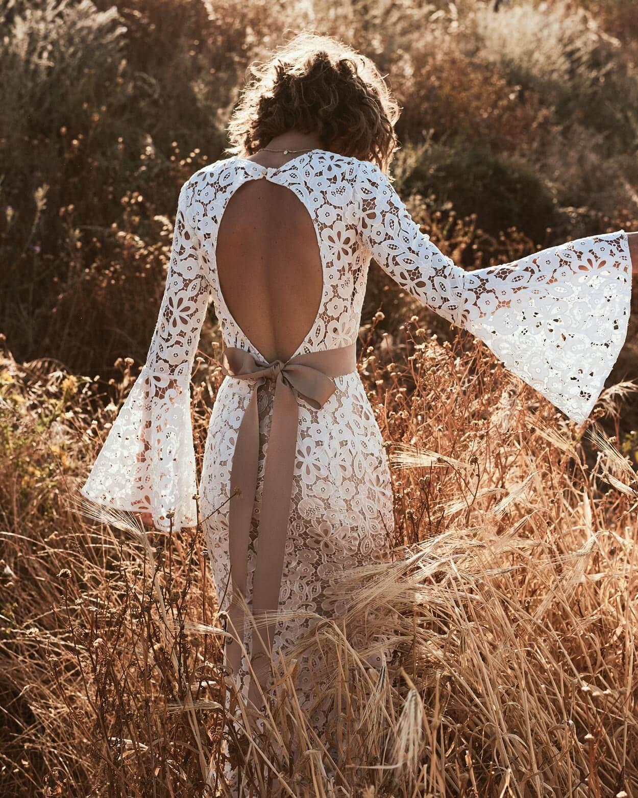 boho Brautkleid Hochzeitskleid rücken