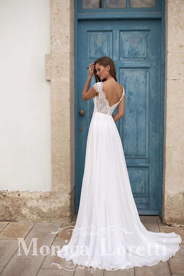 Monica Loretti schlichtes vintage Brautkleid Rückansicht