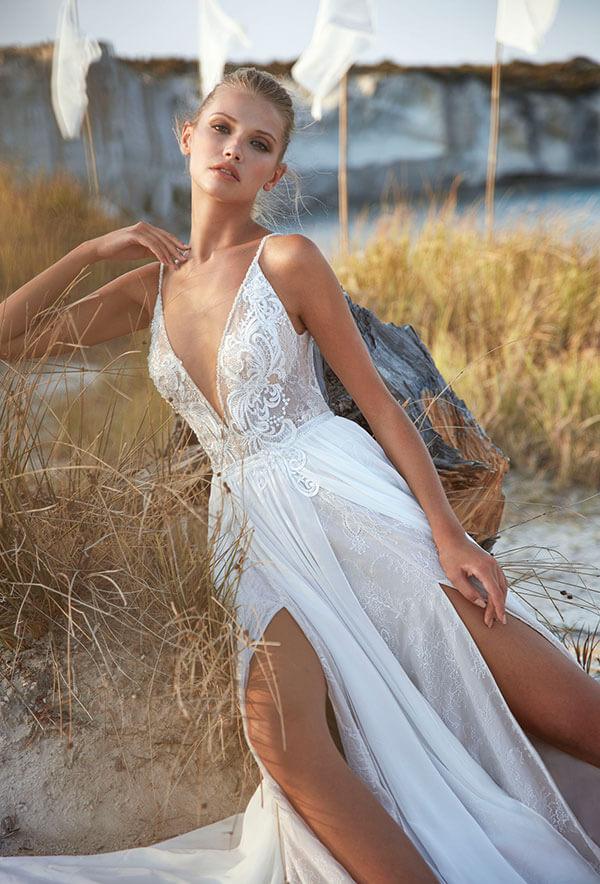 Herve Paris sexy Boho Brautleid mit tiefem ausschnitt 0239 Kollektion 2021