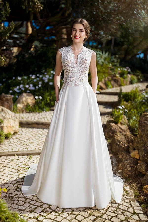 zwei Teiler Brautkleid mit Taschen